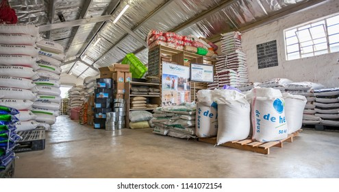 Johannesburg, South Africa - 1 February - 2017: Livestock feeds supplier. Warehouse full of animal feed bags