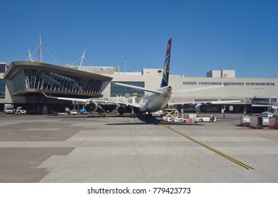 JOHANNESBURG, SOUTH AFRICA -1 NOV 2017- View of planes at the O. R. Tambo International Airport (JNB) near Johannesburg and Pretoria. It is the busiest airport in Africa.
