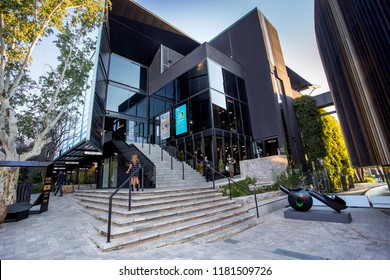 Johannesburg, South Africa - 11 September - 2018: Modern glass fronted building. Exterior of art gallery and decor venue.