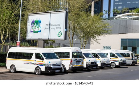 Johannesburg, South Africa, 11th September - 2020: Taxis waiting in city centre for the commuter rush hour.