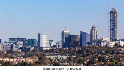 Johannesburg, South Africa, 12th June - 2019: View of city centre with tall buildings.
