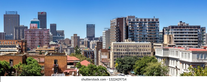 Johannesburg, South Africa, 17th February - 2019: View of city centre with skyscrapers and apartment buildings.