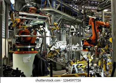 JOHANNESBURG, SOUTH AFRICA - 2 MAY 2016: A car being manufactured on an assembly line. The South African automotive industry produces approximately 1.2 million vehicles annually. Editorial.