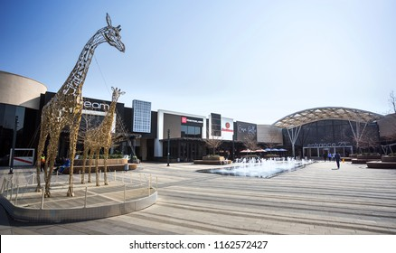 Johannesburg, South Africa, 22 August - 2018: Outside dining area of modern mall in Africa.