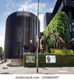 Johannesburg, South Africa, 22nd March- 2019: Exterior of art studio and design studio space with large metal sculpture.