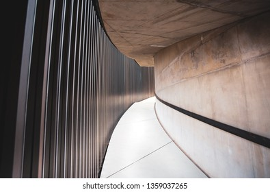 Johannesburg, South Africa, 22nd March- 2019: Curved walkway of building made from concrete