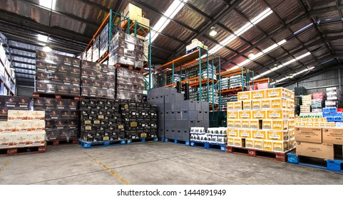 Johannesburg, South Africa, 24th February - 2015: Bulk liquor sales warehouse. Alcohol stacked in warehouse.
