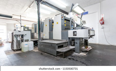 Johannesburg, South Africa, 26 March - 2017: Lithographic printing machine in a printing workshop.