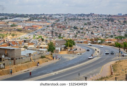 Johannesburg, South Africa , 4 October - 2019: View over township towards city centre with main motorway running through township.