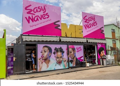 Johannesburg, South Africa , 4 October - 2019: Hair Salon in township in converted shipping container.