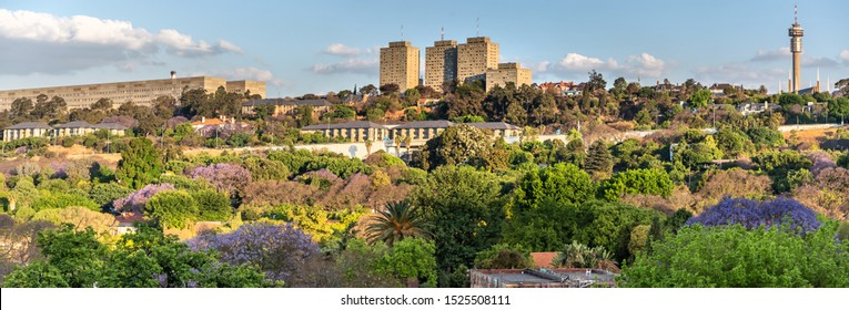 Johannesburg, South Africa , 4 October - 2019: Panoramic view of leafy suburbs surrounding inner-city