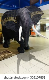 JOHANNESBURG, SOUTH AFRICA -5 JUNE 2015- An elephant sculpture serves as advertisement for the Amarula liqueur, a South African alcoholic drink made from marula fruit, also called Elephant Tree.