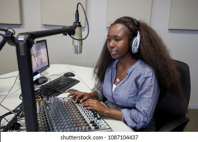 Johannesburg, South Africa, April 17, 2012, Diverse Students on College Campus Radio station