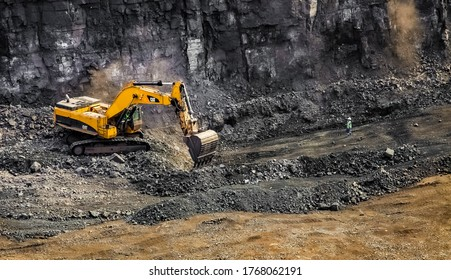 Johannesburg, South Africa - April 20 2012: Open Pit Manganese Mining and Equipment