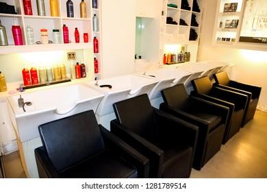 Johannesburg, South Africa - April 27 2011: Interior of an Up-Market Hairdresser Barber Salon