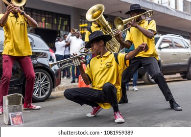 Johannesburg, South Africa, April 29-2018: Buskers playing on the streets. Brass band performing in the city.