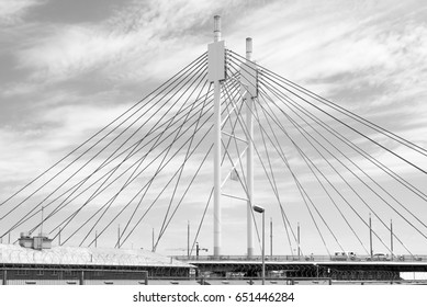 JOHANNESBURG, SOUTH AFRICA - AUGUST 16, 2016: The Nelson Mandela Bridge in the Johannesburg Central Business District.