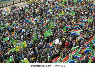 JOHANNESBURG, SOUTH AFRICA - AUGUST 21: The South African flag at the FNB Stadium in Soweto on August 21, 2010.  The game set the record for the highest attendance at a South African Rugby match.