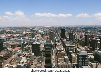 JOHANNESBURG, SOUTH AFRICA - CIRCA NOVEMBER 2017: Panorama view of the  Johannesburg CBD, as seen from the observatory of the Carlton Centre, the tallest office building in Africa