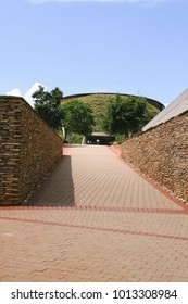 JOHANNESBURG, SOUTH AFRICA - CIRCA NOVEMBER 2017: Entrance to the Maropeng Visitors Centre at the site of Cradle of Humankind, a UNESCO World Heritage Site in Johannesburg.
