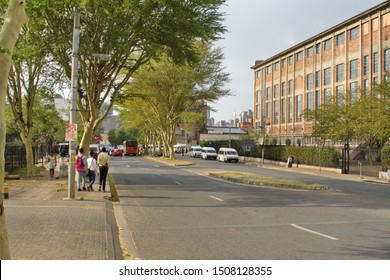JOHANNESBURG, SOUTH AFRICA - CIRCA OCTOBER 2018: Road in front of the old power plant building in Newtown