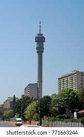 JOHANNESBURG, SOUTH AFRICA - CIRCA OCTOBER 2017: Hillbrow tower above the downtown skyline