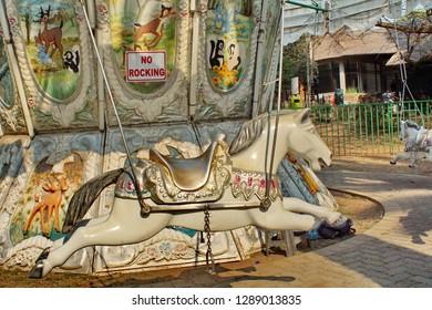 JOHANNESBURG, SOUTH AFRICA - CIRCA SEPTEMBER 2018: Horse on a carousel at Johannesburg Zoo