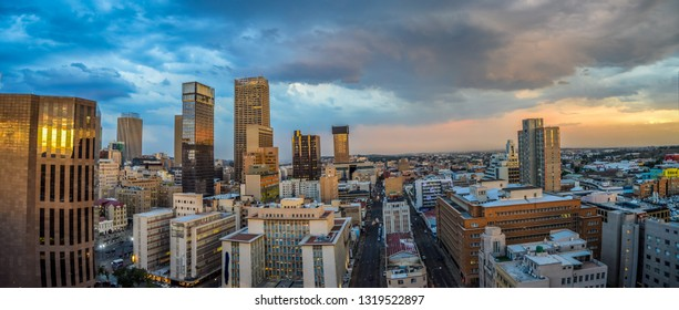 Johannesburg , South Africa - Dec 16 2018:Beautiful  and panoramic Johannesburg city skyline and high rise towers and buildings
