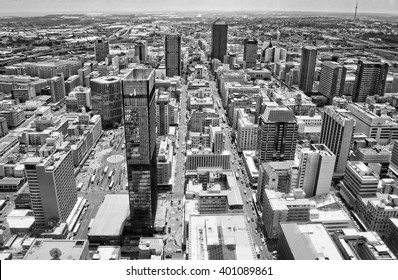 Johannesburg, South Africa - December 21, 2013: Johannesburg began as a gold-mining settlement. Today Johannesburg Central Business District has the most dense collection of skyscrapers in Africa.
