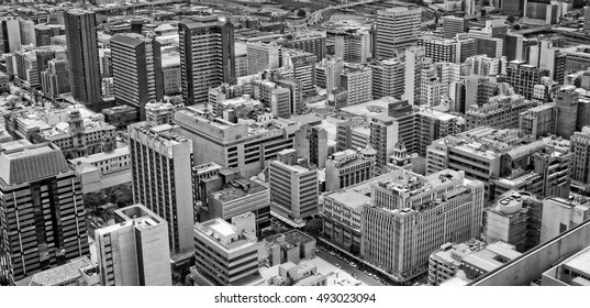 Johannesburg, South Africa - December 21, 2013: Johannesburg Central Business District has the most dense collection of skyscrapers in Africa. The air view of Johannesburg. Old photo. Retro. Vintage