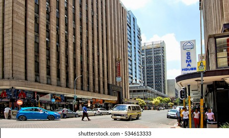 Johannesburg, South Africa -December21,2013 African countries. Beautiful image of modern Johannesburg. CBD The biggest city of South Africa. Urban landscape. People walk in the city. Streets of Joburg
