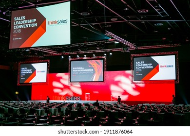 JOHANNESBURG, SOUTH AFRICA - Feb 03, 2021: Johannesburg, South Africa - August 21, 2018: Rows of empty chairs in large Conference hall for Think Sales Leadership Convention