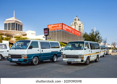 Johannesburg, South Africa -February 15, 2018: Mini bus taxis in traffic in the city