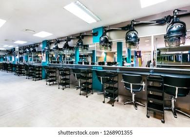 Johannesburg, South Africa - February 6 2015: Interior of a Beauty School Hairdresser