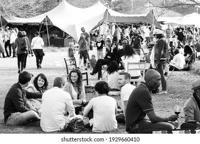 JOHANNESBURG, SOUTH AFRICA - Jan 05, 2021: Johannesburg, South Africa - May 10 2014: Diverse People at an outdoor Food and Wine Festival