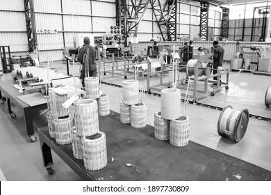 JOHANNESBURG, SOUTH AFRICA - Jan 06, 2021: Johannesburg, South Africa - September 18 2014: Inside a Transformer Manufacturing Factory Facility