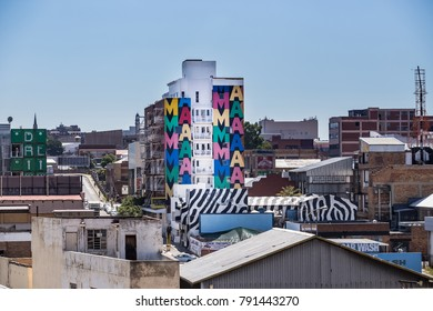 Johannesburg, South Africa, January 10, - 2018: Buildings in downtown Johannesburg. A building with graffiti in a fashionable part of Johannesburg.