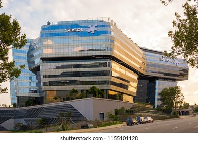 Johannesburg, South Africa - January 15, 2017: Sasol Head Quarters in Sandton, Johannesburg at sunset, designed by Paragon Architects