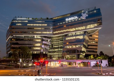 Johannesburg, South Africa - January 15, 2017: Sasol Head Quarters in Sandton, Johannesburg at night, designed by Paragon Architects