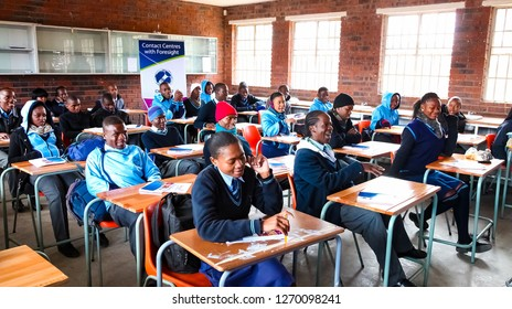 Johannesburg, South Africa - July 29 2011: African High School Children in Classroom Lesson
