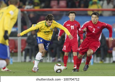 JOHANNESBURG, SOUTH AFRICA - JUNE 15:  Nilmar of Brazil on the attack against North Korea during a FIFA World Cup match June 15, 2010.  Editorial use only.  No pushing to mobile device use.