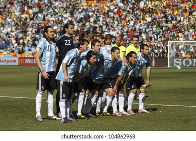 JOHANNESBURG, SOUTH AFRICA - JUNE 17:  The Argentina National Team lines up before a World Cup match June 17, 2010 in Johannesburg, South Africa.