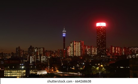 JOHANNESBURG, SOUTH AFRICA - June 17, 2017: Night view of the Johannesburg city skyline including the Ponte and Hillbrow Towers.