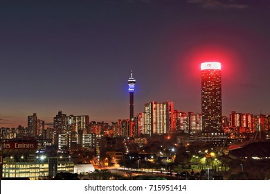 JOHANNESBURG, SOUTH AFRICA - June 17, 2017: Sunset view of the Johannesburg city skyline including the Ponte and Hillbrow Towers.