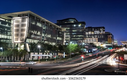Johannesburg, South Africa, March 29-2018: City street with modern buildings in skyline. Long exposure of city street.
