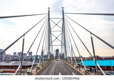 Johannesburg, South Africa - March 5, 2019: Nelson Mandela Bridge , Johannesburg