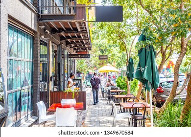 Johannesburg, South Africa - March 6, 2019: Outdoor restaurant in Maboneng Precinctof Johannesburg city. One of South Africa's hippest urban districts