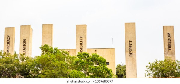 Johannesburg, South Africa - March 7, 2019: Pillars In Famous Apartheid Museum in Johannesburg, South Africa
