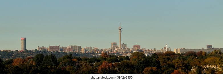 JOHANNESBURG, SOUTH AFRICA - May 1, 2015: View of Johannesburg city skyline from Hyundai Mushroom Farm Park, including the Ponte and Hillbrow Towers, with trees in the foreground.