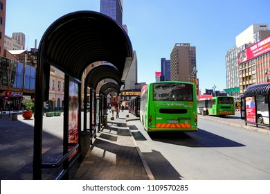 Johannesburg, South Africa - May 2018 : Bus stop on Gandhi Square